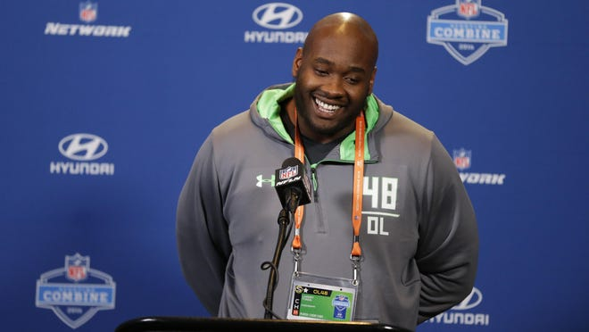 Mississippi offensive lineman Laremy Tunsil at a press conference at the NFL combine Wednesday.