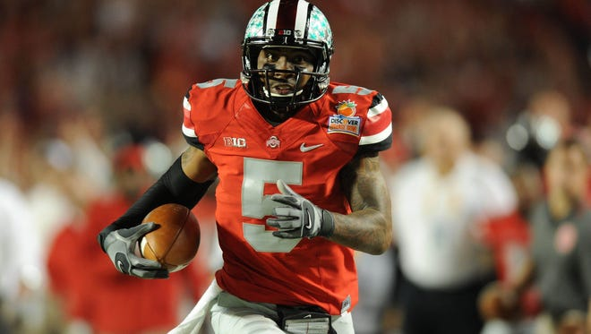 Ohio State Buckeyes quarterback Braxton Miller runs for a touchdown against Clemson during the Orange Bowl in January.