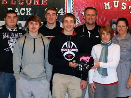Pictured in the front row, from left: Austin Snider, Jonas Walter and Karen Lauchman. Back row, from left: Scotty Dickmyer, Logan Bowman, Damian Poalucci – Head Coach, Diana Cassetta (SUBMITTED)