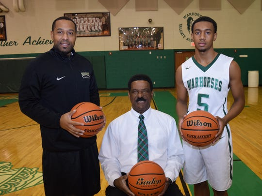 Kedrick Smith (left), Charles Smith and Jacoby Ross are three generations represented on the Peabody basketball team.