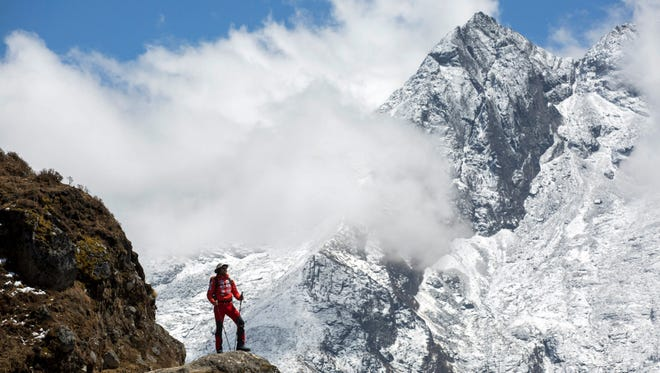Hungarian mountaineer Szilard Suhajda, member of the Hungarian Everest Expedition is en route to the Everest base camp near Namche Bazaar in Nepal on April 1, 2017.