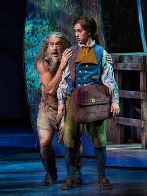 "J. Todd Adams plays Ben Gunn and Sceri Sioux Ivers plays Jim Hawkins in the Utah Shakespeare Festival's 2017 production of ""Treasure Island."""