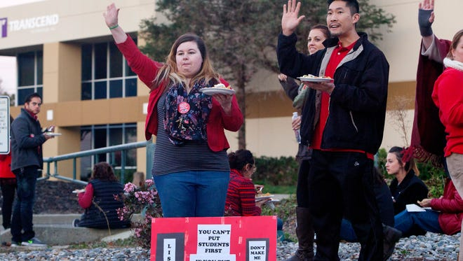 Teachers at Mission San Jose High School in Fremont rally during stalled contract talks in December.