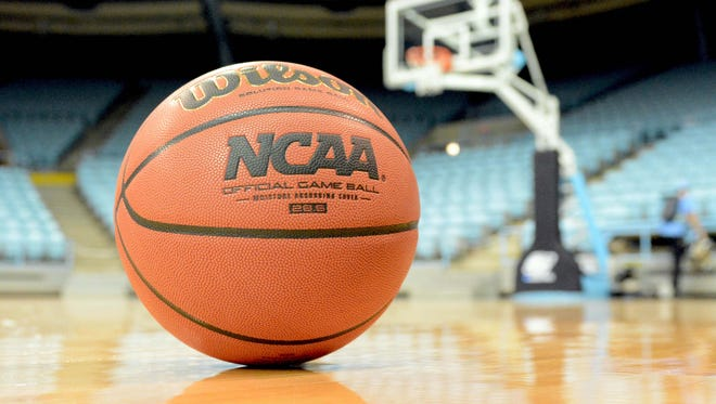General view of a basketball on the court before the game between the Ohio State Buckeyes and North Carolina Tar Heels during the second round of the women's NCAA tournament at Carmichael Arena.