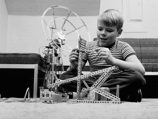 Bobby Meyers of Clifton, N. J. plays with an erector