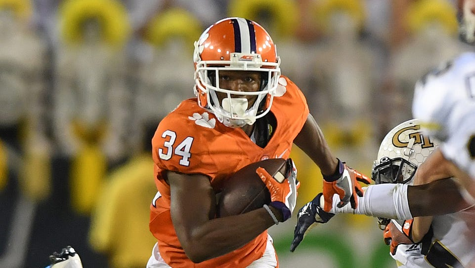 Clemson wide receiver Ray Ray McCloud (34) returns