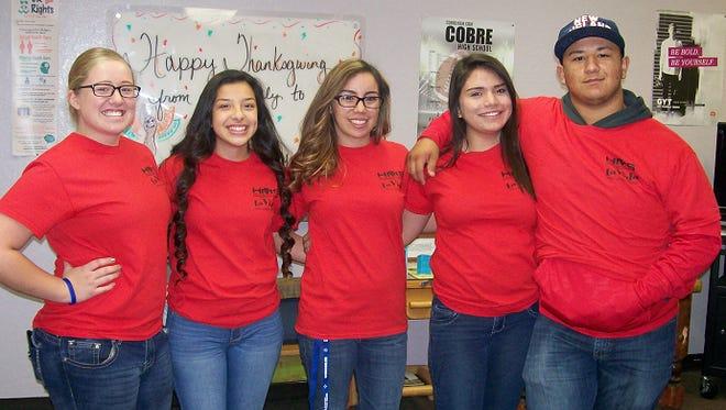 "Cobre High School SHAC student leaders at the ""Get Yourself Tested"" event on December 1 (from left to right) – Victoria Zuniga, Brooke DeLaGarza, Brianna Cabrera, Nichole Pedraza, and Antonio Gomez."