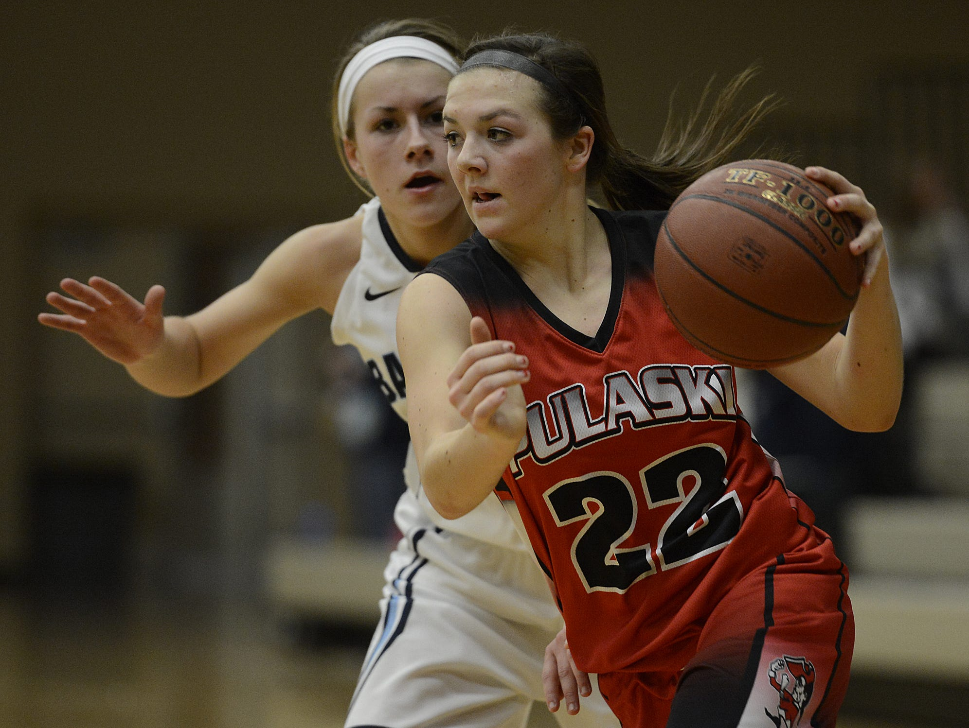 Pulaski's Mariah Szymanski (22) is the only returning first-team all-conference player in the Fox River Classic Conference.