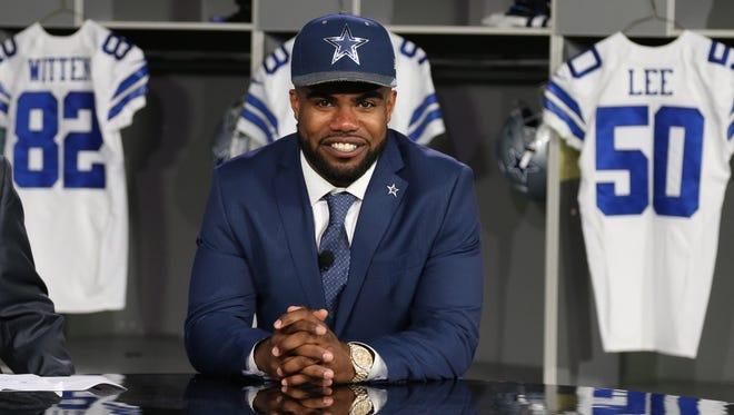 Dallas Cowboys number one draft pick Ezekiel Elliott smiles while on set of Cowboys live at Dallas Cowboys Headquarters.