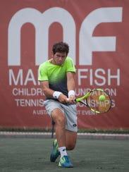 Nicolas Meija plays at the Mardy Fish Tennis Championships