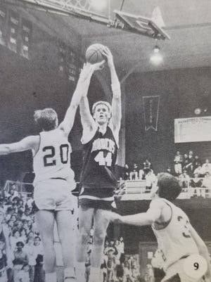 Orangeville's all-state center, Brian Hildebrand, shoots a jumper in 1991, the season he led the Broncos to state in Class A.