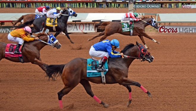 Jess Good Candy earned the 2015 champion two-year-old and champion two-year-old colt honors with four wins, capped by a neck win in the Grade 1, $3 million All American Futurity.