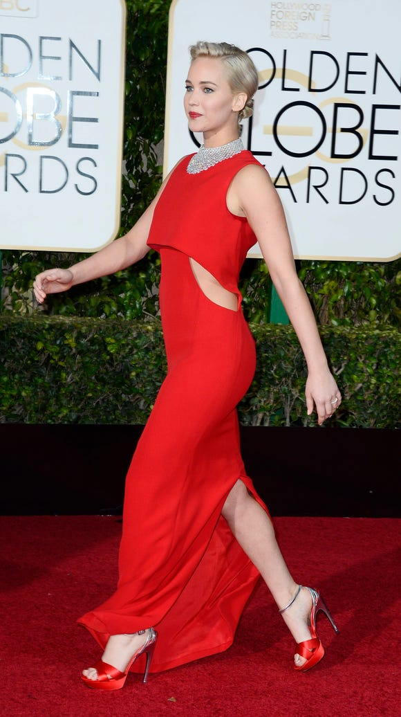 Actress Jennifer Lawrence wows in red.