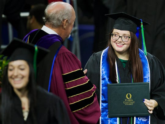 Paris Payton was among the students who participated in Florida Gulf Coast University's commencement ceremonies on Saturday at Alico Arena in Fort Myers. Roy McTarnaghan, FGCU's first president, was the commencement speaker.