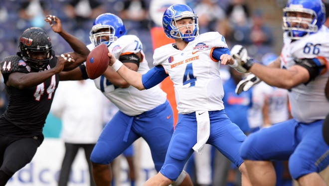 Boise State quarterback Brett Rypien (4) looks to pass against Northern Illinois during the 2015 Poinsettia Bowl.