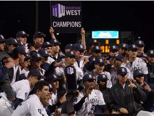 The Wolf Pack baseball team celebrates its 2018 Mountain West regular-season championship.