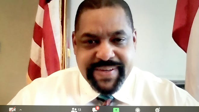 Richmond County Sheriff Richard Roundtree in a screen grab of a Zoom press conference Thursday afternoon October 8, 2020 in Augusta, Ga.