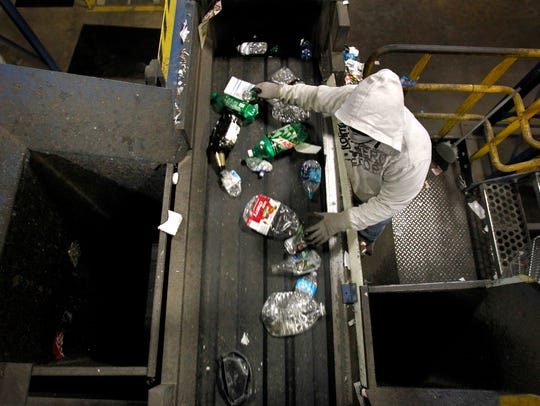 Recyclable materials are sorted at the Tri-County Recycling