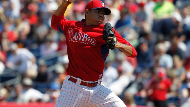 Phillies relief pitcher Jeanmar Gomez (46) throws a pitch Monday during the seventh inning against the Detroit Tigers at Bright House Field. Credit: Kim Klement-USA TODAY Sports