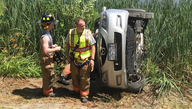 Two people were injured in a rollover accident in Mahopac.