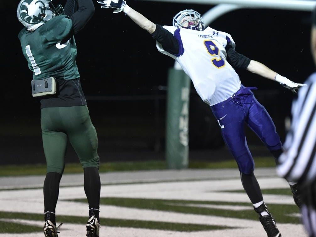 Madison receiver Billy Buckley rises up for a touchdown catch against Lexington last week. The Rams will travel to Clear For Friday night for another Ohio Cardinal Conference football game.