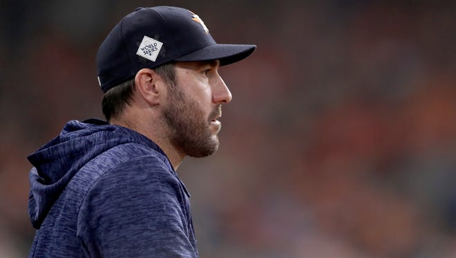 868003756.jpg HOUSTON, TX - OCTOBER 29: Justin Verlander #35 of the Houston Astros looks on in game five of the 2017 World Series against the Los Angeles Dodgers at Minute Maid Park on October 29, 2017 in Houston, Texas.  (Photo by Christian Petersen/Getty Images)