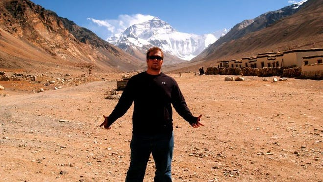 Morgan Boisson, with Mount Everest in the background.