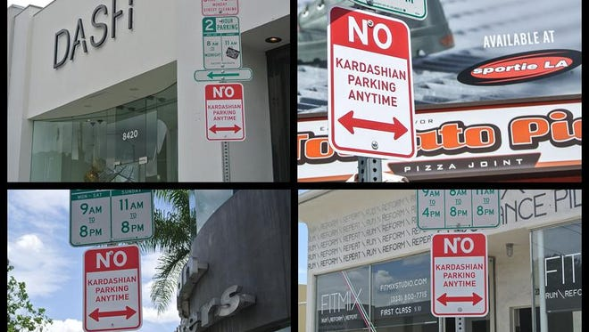 'No Kardashian Parking' signs were put up in various locations across Los Angeles by street artist Plastic Jesus.