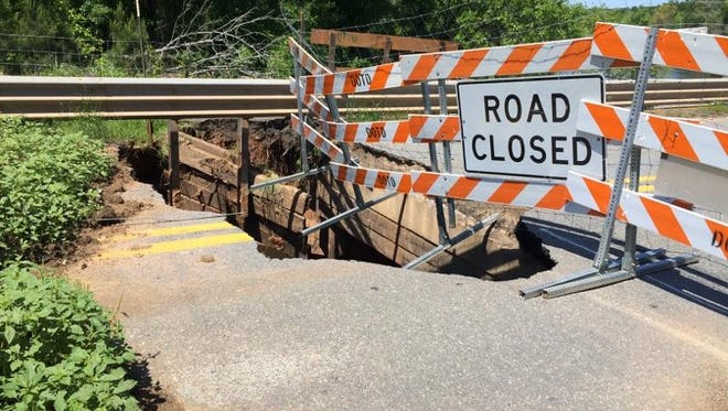 A portion of hte Red Chute Bridge collapsed sometime after April 19.