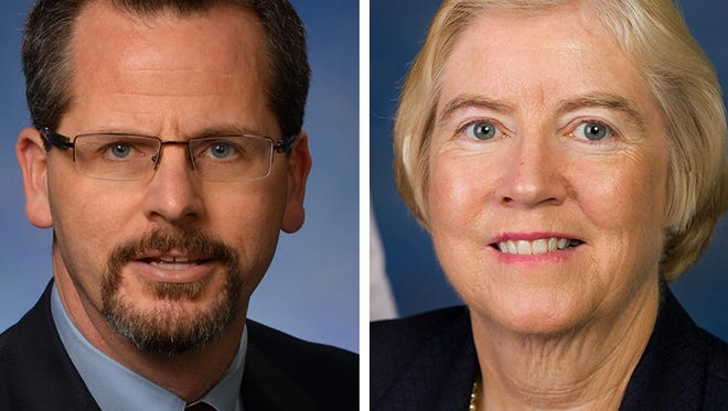 From left, Michigan state Rep. Todd Courser and U.S. Rep. Candice Miller