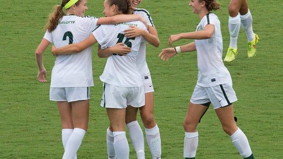 Reynolds alum Megan McCallister, far left, is a freshman for the Charlotte women's soccer team.