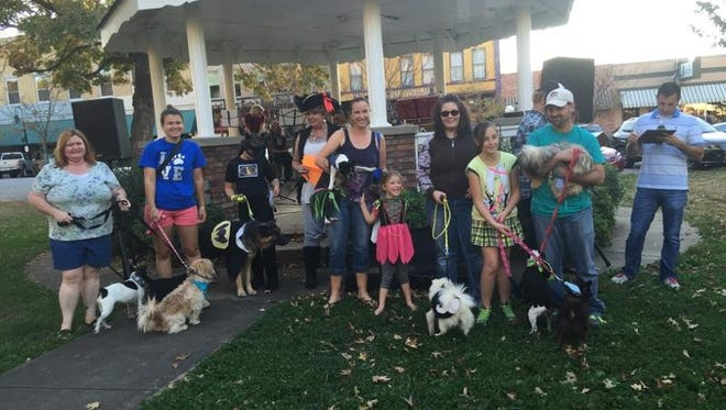 Four and two legged participants in the Frighteningly Fun and Funny Four-legged Fashion Fair gather for a group photo during Ozark Downtown Farmers Market's Fall Final Finish to end the season.
