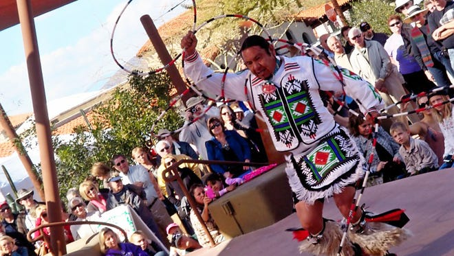 World-champion hoop dancer Moontee Sinquah will perform at the Carefree Fine Art of the Southwest Festival.