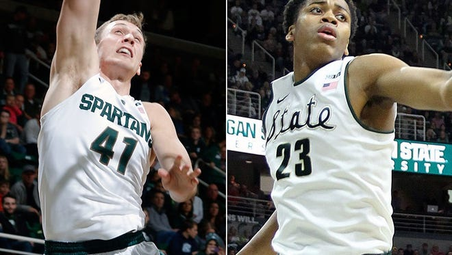 Michigan State forwards Colby Wollenman, left, and Deyonta Davis.