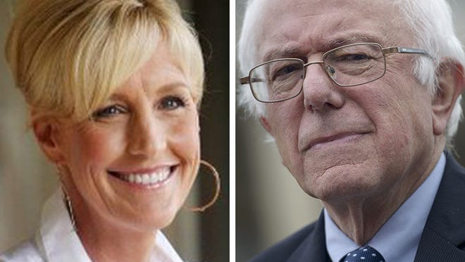 Erin Brocovich, left, and Bernie Sanders