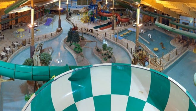 The Loggers Landing Waterpark located inside the Grand Lodge offers 50,000 square feet of pools, slides and other water features with a logging theme.