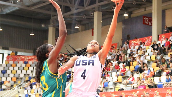 Destanni Henderson drives against Australia in the FIBA U17 Women's World Basketball Championships on Friday, July 1, 2016 in Zaragoza, Spain