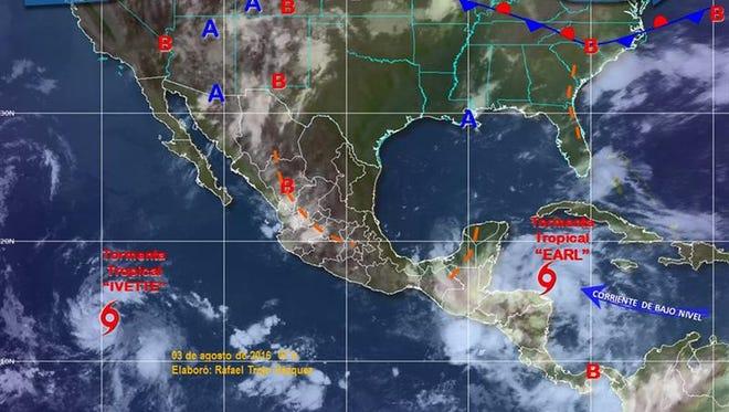 Los estados del sureste de México se encuentran en alerta ante el avance de la tormenta tropical Earl, que generará lluvias muy fuertes con tormentas intensas, informó hoy el Servicio Meteorológico Nacional (SMN).