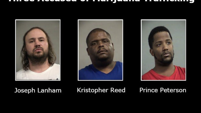 Three people were arrested and charged with trafficking marijuana after police said they found more than 100 pounds of marijuana during a narcotics investigation.