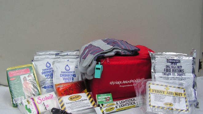 A 3-Day emergency preparedness safety kit, such as this one, will be sold by Quake-Ready Kit at this Saturday's earthquake vendor fair.
