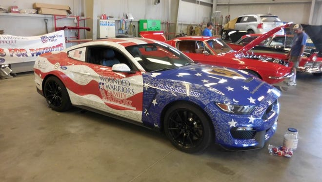 The Wounded Warriors Family Support's 2016 Ford Mustang Shelby GT350 – wrapped in a patriotic design – will travel more than 26,000 miles during a trek to 100-plus cities in 48 states.
