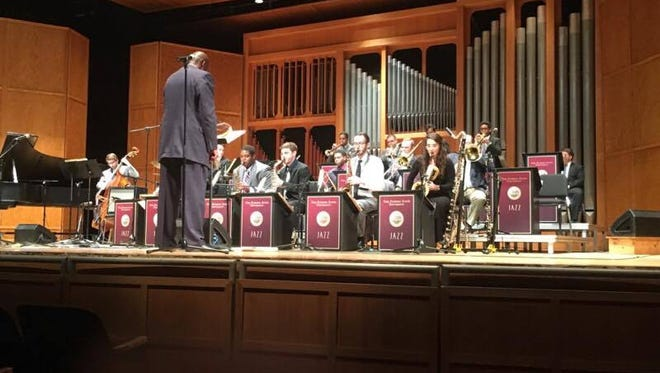 The FSU Jazz Ensemble performing at the Opperman Music Hall on October 18.
