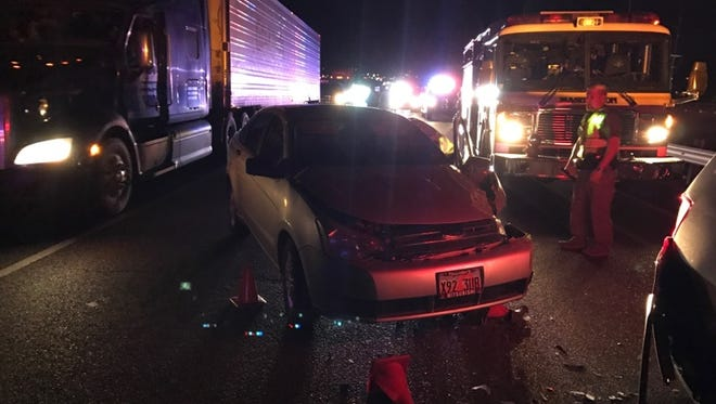A traffic accident on Interstate 15 in St. George on Saturday involved a passenger vehicle striking a Utah Highway Patrol vehicle.