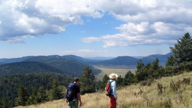 Hikers to the summit of Cerro Grande get panoramic views of the Valles Caldera.