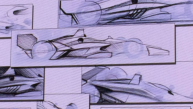 An artist's sketches of the 2018 IndyCar aero kit