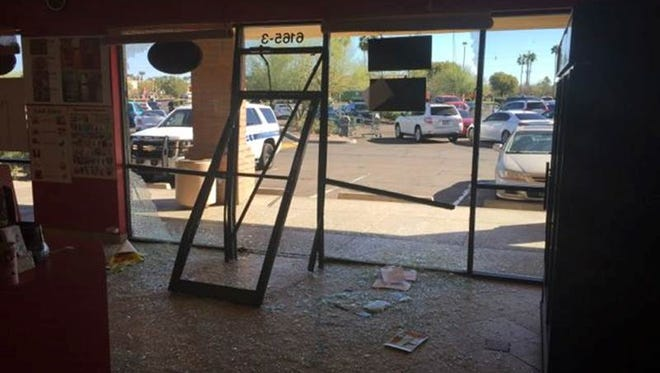 An SUV plowed through the front entrance of a Boba & Donuts, a Chandler doughnut shop on Wednesday.