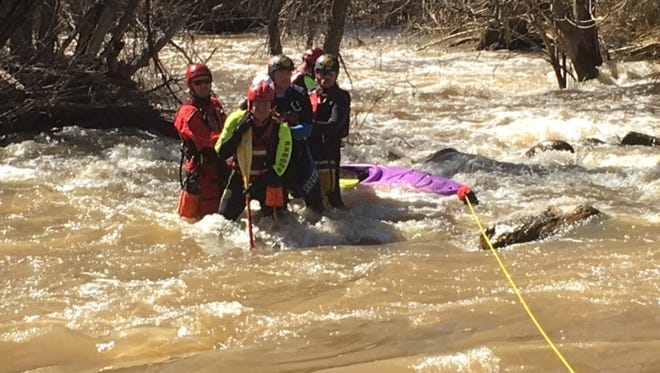 The Swift Water Team and personnel from the Copper Canyon Fire and Medical Authority rescued a stranded kayaker Saturday.