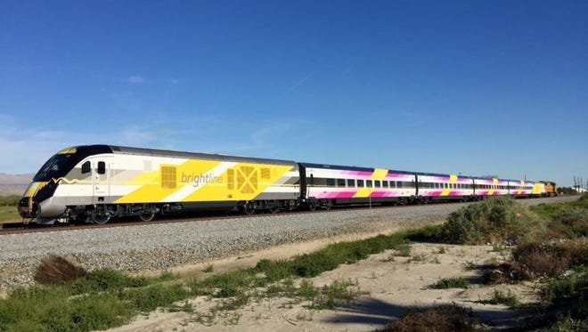 Brightline's BrightPink rolled through the Treasure Coast on March 13, 2017, en route from Sacramento, California, to West Palm Beach.