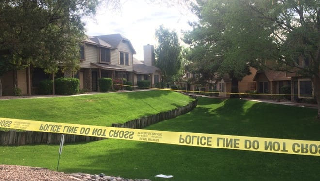 Phoenix police restrict an apartment complex in Ahwatukee Foothills, where a homicide investigation is ongoing.