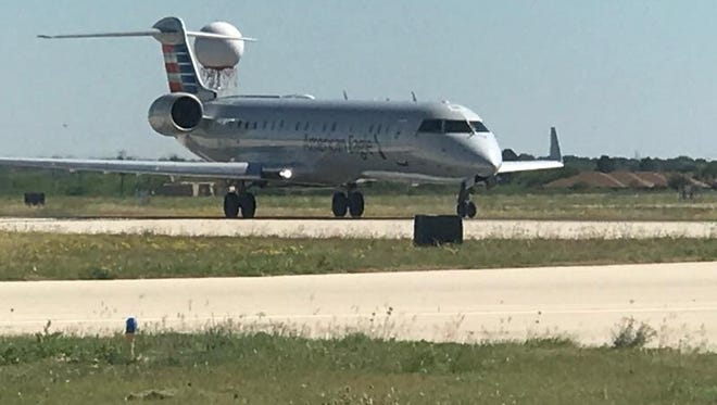 American Airlines larger plane takes off from San Angelo Regional Airport Friday, May 5.